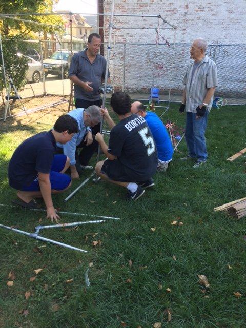 Sukkah building crew